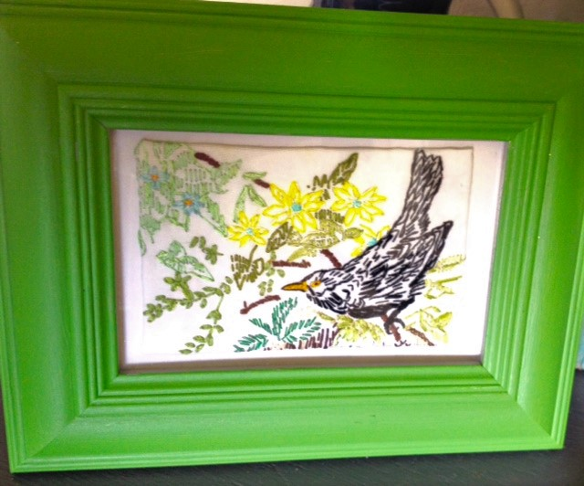 Embroidered Blackbird in the Hedgerow Art (cw frame)