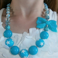 1 Bow  orange or  2,blue chunky  necklace, Cake Smash Necklace
