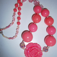Rose  pink chunky  necklace, Cake Smash Necklace