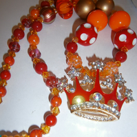 Crown crystal  chunky  necklace, Cake Smash Necklace