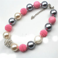 Silver,Ivory, large crystal Pink,Chunky Bubblegum Necklace