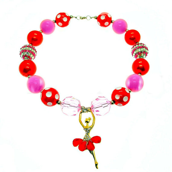 Red, ballet dancer,Bubblegum Necklace, Girl Chunky Necklace