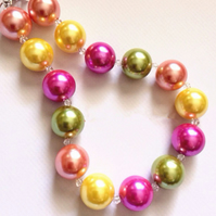 Rainbow Bead ,Chunky Necklace, Chunky Bubblegum Necklace