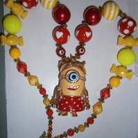 Minion,Chunky Bubblegum Necklace, Little Girl Chunky Necklace,Cake Smash Necklac
