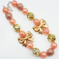 Peach Gold bow Chunky Bubblegum Necklace,  Cake smash