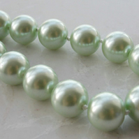 Woman, Mother Of The Bride, Elegant 12mm Pastel Green South Sea Shell Pearl Neck