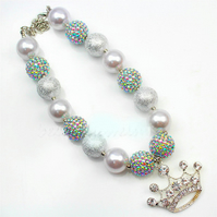 Silver Crown,Chunky Bubblegum Necklace, Girl Chunky Necklace, Cake Smash