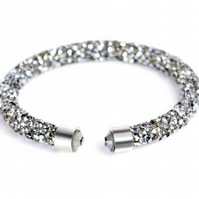 Moon dust Woman,Unisex, Crystal Torque Silver Faux Diamond , Silver Crystal end