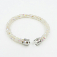 Moon dust Woman,Unisex, Crystal Torque White Faux Diamond , White Crystal ended