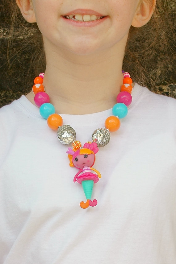 Lalaloopsy,Mermaid Bubblegum Necklace, Little Girl Chunky Necklace