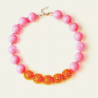 Pearl,Chunky Bubblegum Necklace, Little Girl Chunky Necklace