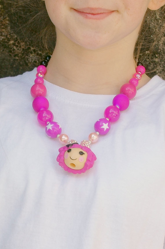 Lalaloopsy Chunky Necklace, Chunky Bubblegum Necklace,kawaii
