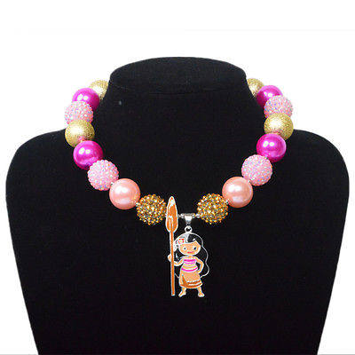 Moana Pink,Chunky Bubblegum Necklace, Kawaii