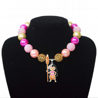 Moana Pink,Chunky Bubblegum Necklace, Little Girl Chunky Necklace