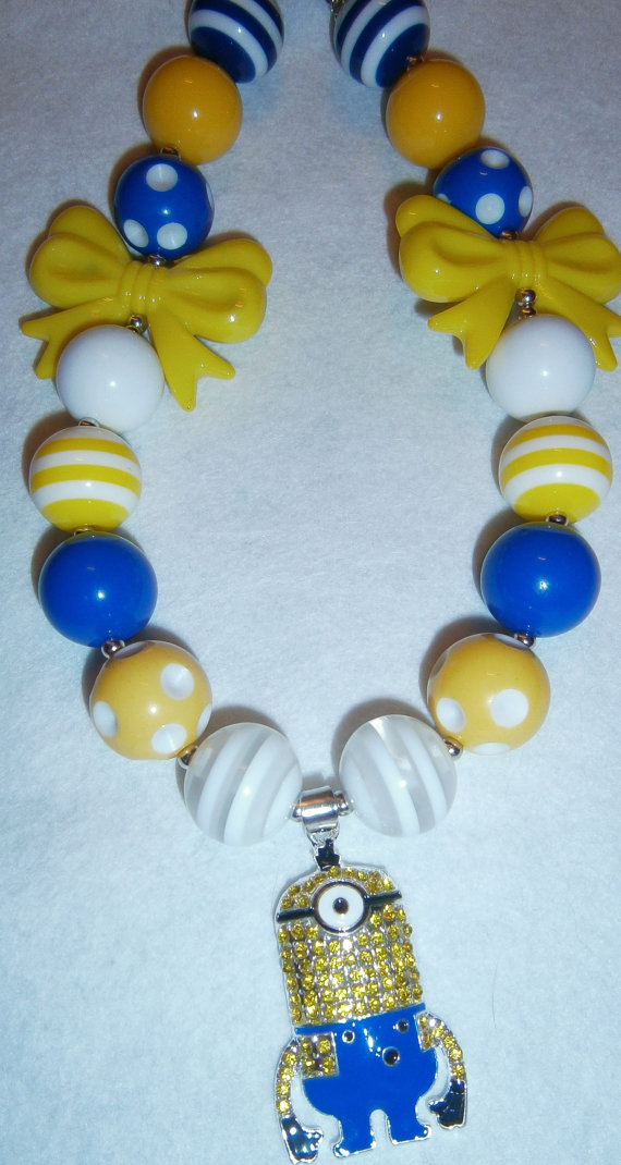 Despicable me, Minion Chunky Necklace, Crystal Bubblegum Necklace