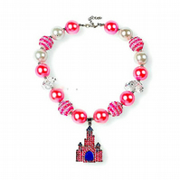 Princess Rhinestone Crystal Castle,Chunky Bubblegum Necklace