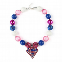 Super girl crystal, Girl Chunky Necklace