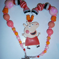 Peppa pig,Chunky Necklace, Little Girls Chunky Necklace
