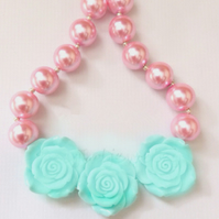 3 blue Rose, Pink Bubblegum Necklace, Little Girl Chunky Necklace, Cake Smash