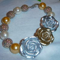 Gold Silver,Rose,Chunky Bubblegum Necklace