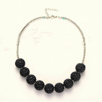 Black,Chunky Bubblegum Necklace, Little Girl Chunky Necklace