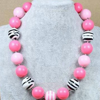 Zebra print necklace, Chunky Bubblegum Necklace,CAKE SMASH NECKLACE