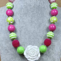White Rose ,Chunky Necklace, Chunky Bubblegum Necklace