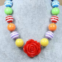 Red Rose ,Chunky Necklace, Chunky Bubblegum Necklace