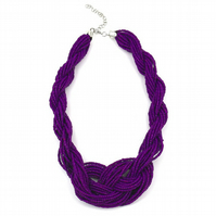 Purple Weave Beaded Collar Statement Necklace