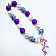 My Little Pony Rarity . kids necklace, Girls Bubblegum Necklace,CAKE SMASH