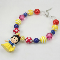 Bubblegum princess Snow white chunky baby doll, kawaii necklace