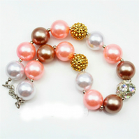 White,Peach, Gold large crystal Pink,Chunky Bubblegum Necklace