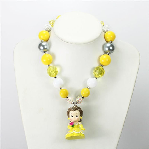 Disney Style Belle Girls Chunky Necklace,Kawaii
