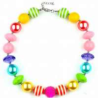 Rainbow,Chunky Bubblegum Necklace, Little Girl Chunky Necklace