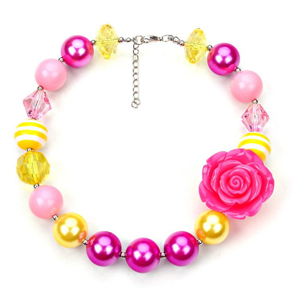 Pink Rose ,Chunky Necklace, Chunky Bubblegum Necklace