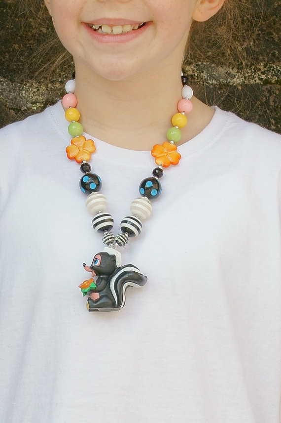 Disney Bambi or friend's Flower The Skunk necklace