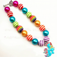 Rainbow Dash Little Girls Chunky Necklace, Kawaii, Cake smash
