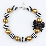 Black bow, Chunky Bubblegum Necklace,