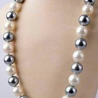 Woman, Mother Of The Bride, Elegant 8mm White Silver South Sea Shell Pearl