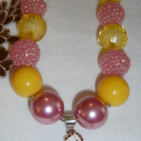 Disney,Belle,Chunky Bubblegum Necklace, Little Girl Chunky Necklace,CAKE SMASH