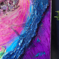 Silver lining, geode abstract resin painting