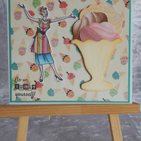 Subtle hand crafted Birthday card; Retro Era; 1950's; Ice Cream; Pastel