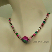 Necklace with Tibetan silver feature beads & colourful mixed media beads (N42)