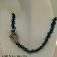 Necklace & bracelet set: Black, sea green and fire-polished (s4)