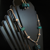 Necklace & earring set; Cube shaped beads in turquoise & silver  (S6)