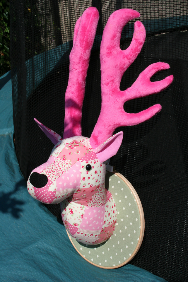 Pink Patchwork Fabric Stag Head Deer Head Wall Folksy