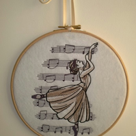 Hooped Embroidered Beautiful Music Ballerina