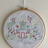 Hooped Embroidered Christmas house