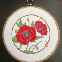 Hooped Embroidered poppy flowers