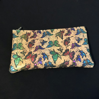 Mutli Coloured Butterflies Natural Cork PU Leather Pencil Case